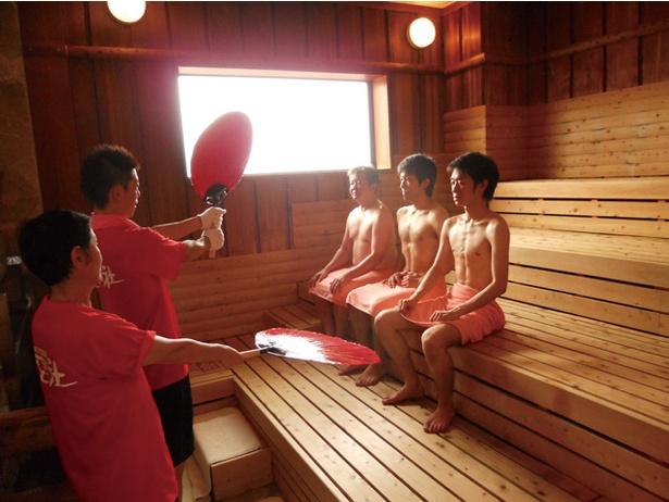 本城天然温泉 おとぎの杜 / 人気のロウリュサービスは毎日午後から3回、男女それぞれで実施される