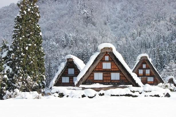 仲良く並ぶ家屋が印象的な、三つ子合掌。庄川と家屋の間から見ることができる