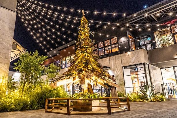 廃材を活用したクリスマスツリーは美しいだけでなく、木のぬくもり、温かさも感じられる。ツリーに使用した廃材はクリスマス後、机やイスにリメイクされ、施設内で利用される
