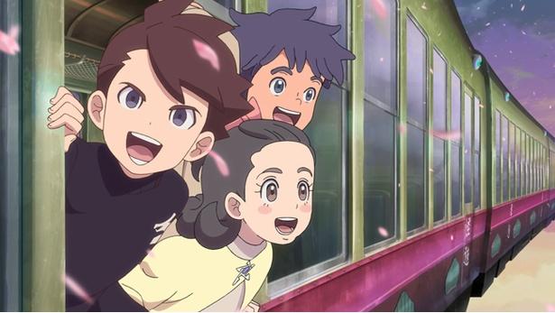 シンたちは電車に乗って、妖魔界へ向かう