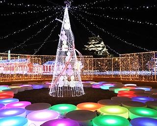 大阪城天守閣を背景に繰り広げられるイルミネーション