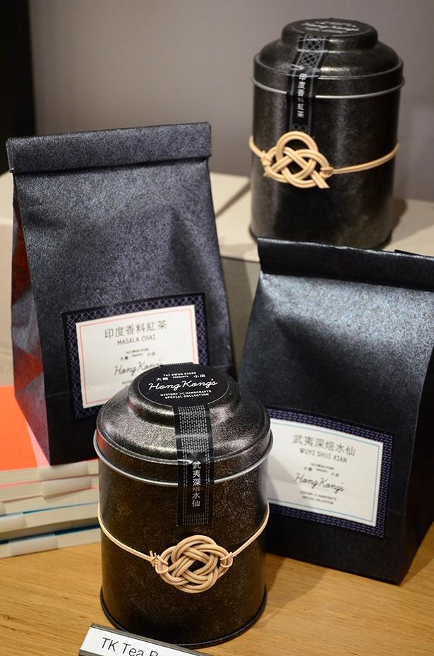 コラボ商品のお茶と茶缶は、おみやげにぴったり(茶葉HK$165、茶缶HK$300)