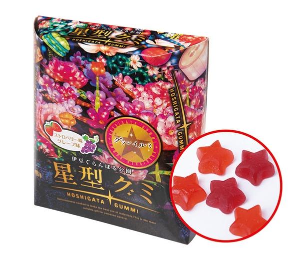 グレープ味やストロベリー味のグミが入った星型グミ380円(14個入)