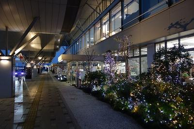 【写真を見る】ターミナルビル前もイルミネーションで彩られる