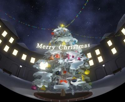 会場の3Dスタジオに映し出されるクリスマスツリー