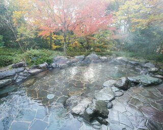 星の温泉館きらら / 「もりの湯」の露天は、野趣あふれる石造りが印象的