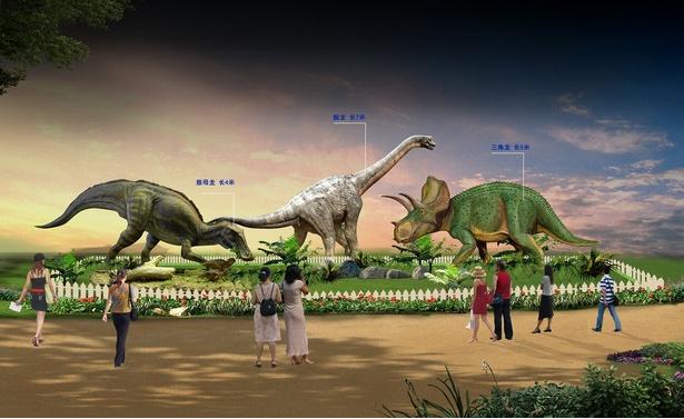 自貢市で発掘された恐竜を実物大で展示