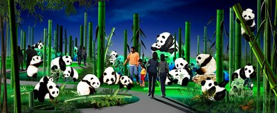 【写真を見る】50体のパンダをランタンで再現した「パンダの楽園」