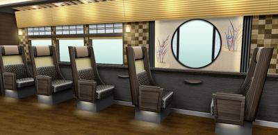 全車両の中央部に京都の寺社建築で用いられる「円窓」を設けたほか、3号車と4号車には一人掛け座席も用意(画像は4号車イメージ)