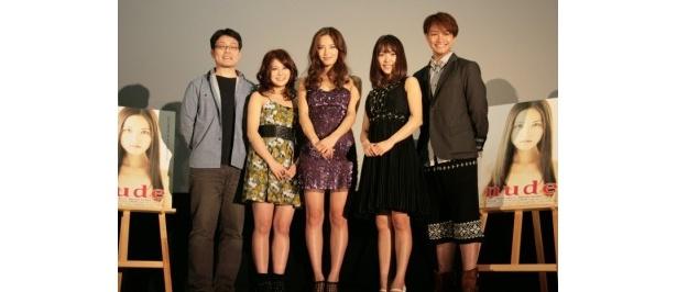 『nude』初日舞台挨拶に登壇した、写真左から、小沼雄一監督、佐津川愛美、渡辺奈緒子、みひろ、永山たかし