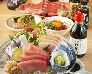 豊富なマグロ料理!全国の日本酒が60分~1,620円~飲み放題