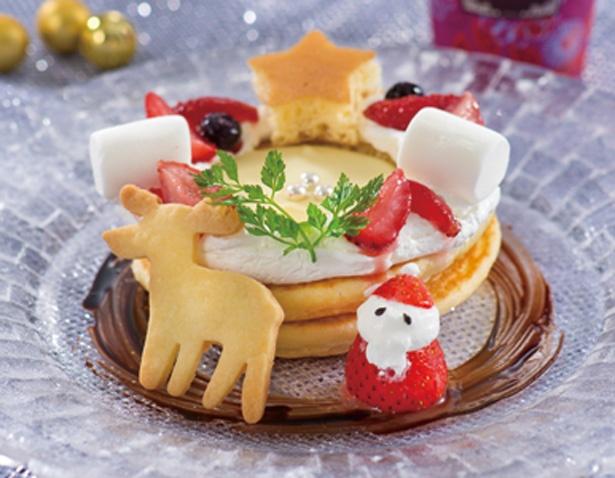 カフェ ミ カサクリスマスパンケーキセット(1200円)/志摩スペイン村
