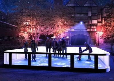 氷を使わないスケートリンクが中庭に登場
