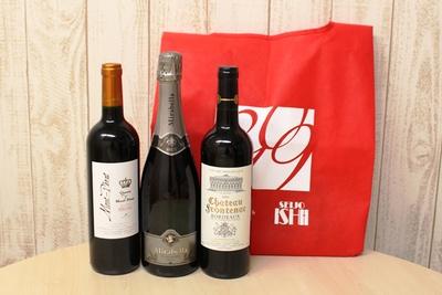 「人気赤ワイン&スパークリング3本セット」(5000円)。左から「クイーン モン・ペラ ルージュ」「ミラベッラ フランチャコルタ ブリュット」「CH フロントナック」