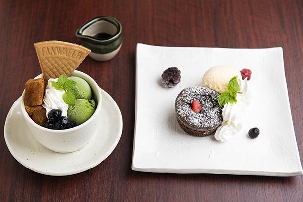 締めに食べたい「京風パフェ 宇治抹茶アイスとわらび餅」(左、583円)、まったり濃厚な「濃厚フォンダンショコラ バニラアイス添え」(右、540円)