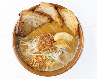 3種から選べる味噌。写真は北海道味噌。味噌漬け炙りチャーシュー麺1058円