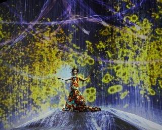 玉城ティナがモデルを務め、チームラボ ボーダレスの世界観を表現している
