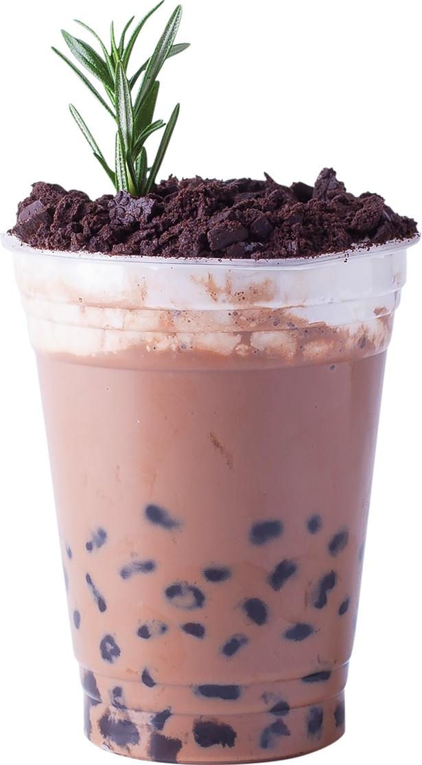 「ホットチョコレート(M590円)」温かいドリンクは、タピオカのモチモチ感をより楽しめる