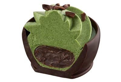 ダークチョコレートのガナッシュに抹茶ムースを合わせた「抹茶ショコラノア」。カカオニブをトッピング