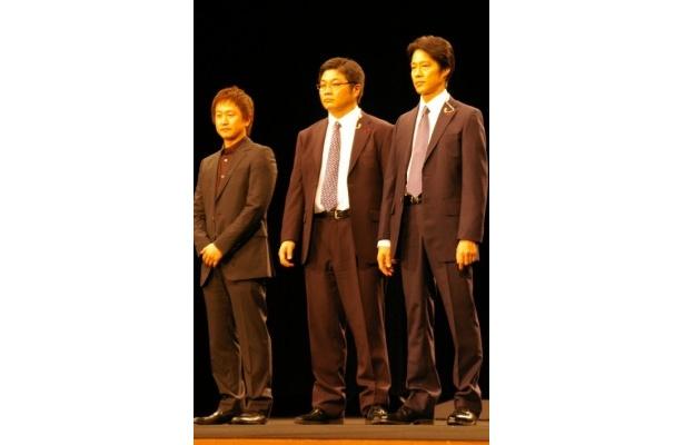 【写真】『SP THE MOTION PICTURE 野望篇』の完成披露試写会に登壇した、(左から)波多野貴文監督、松尾諭、堤真一