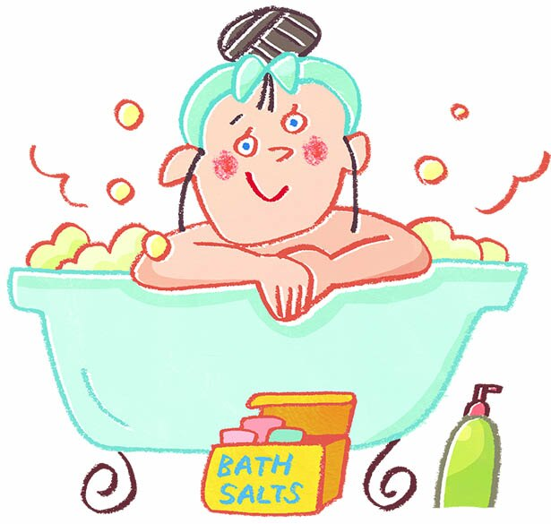 ぬるめのお湯につかって、体を芯から温めて