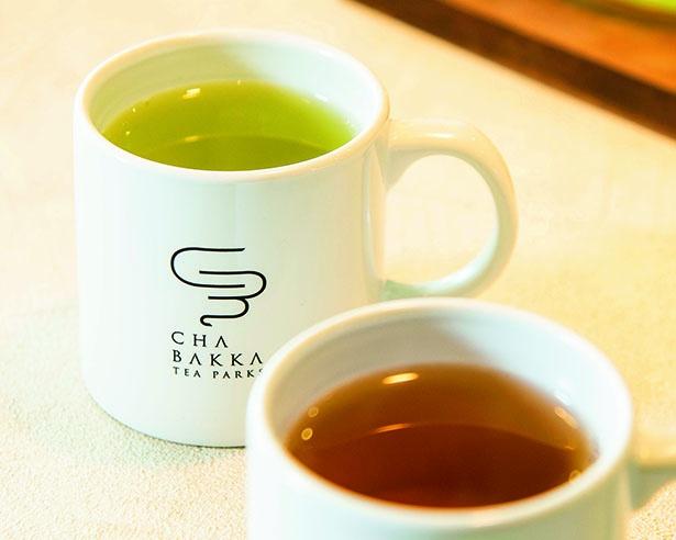 さわやかな香りと濃厚でまろやかな甘味のある棒ほうじ茶 ふくみどり(486円、手前)。天然玉露といわれる高品質の深蒸し煎茶 あさつゆ(486円)
