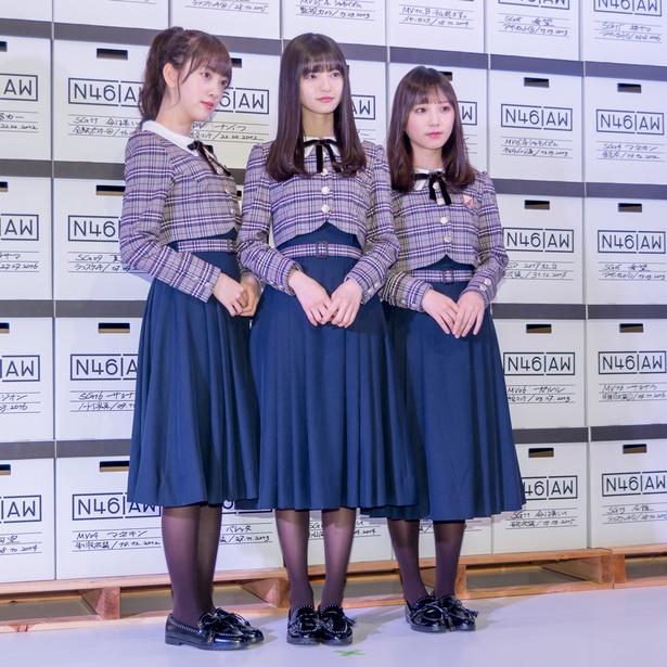 「乃木坂46 Artworks だいたいぜんぶ展」メディア内覧会に出席した堀未央奈、齋藤飛鳥、与田祐希