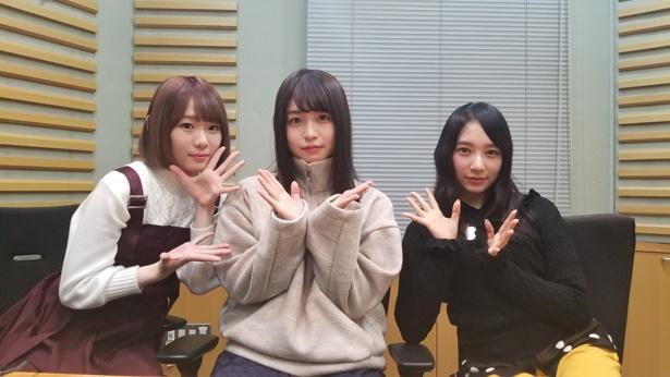 音楽を軸にしたトークを展開する長濱ねる(中央)、小池美波(左)、佐藤詩織(右)