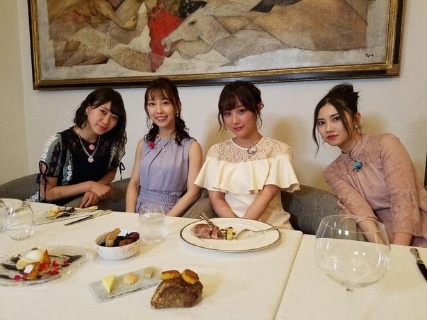 「SKE48 むすびのイチバン!」に出演する北川綾巴、鎌田菜月、熊崎晴香、井田玲音名(写真右から)