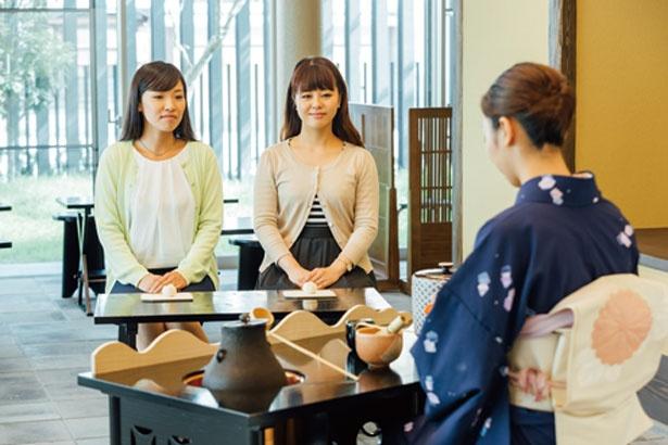 椅子に座って堺の抹茶と和菓子を味わえる(予約不要、500円)/さかい利晶の杜