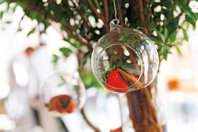 森をイメージしたコーナーには、緑の中で映える真っ赤ないちごの実がなる/ハイアットリージェンシー大阪