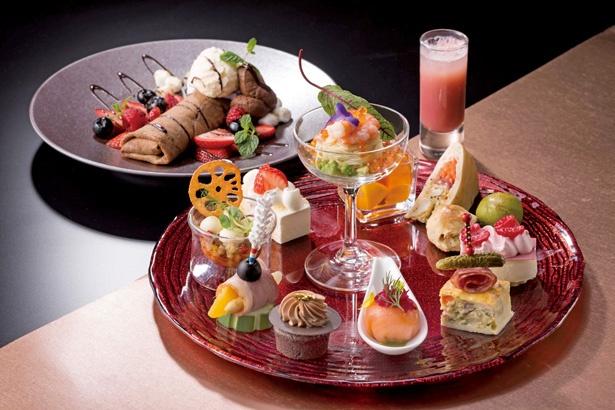 チョコレートクレープは3種類から選べる/「名古屋マリオットアソシアホテル 52F スカイラウンジ ジーニス」