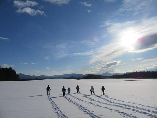 【写真を見る】まだ誰も踏みしめていない雪原を歩く爽快感