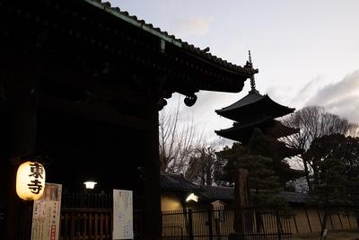 朝6時の東寺。まだ提灯に明かりが灯っている