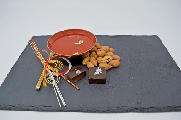 【写真を見る】カヤの実と酒かすを組み合わせたガナッシュを使用した「Omiki」