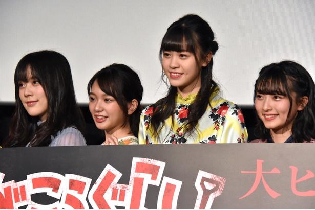 (写真左より)映画「がっこうぐらし!」のメインキャストにオーディションで選出されたラストアイドルの間島和奏さん、長月翠さん、阿部菜々実さん、清原梨央さん