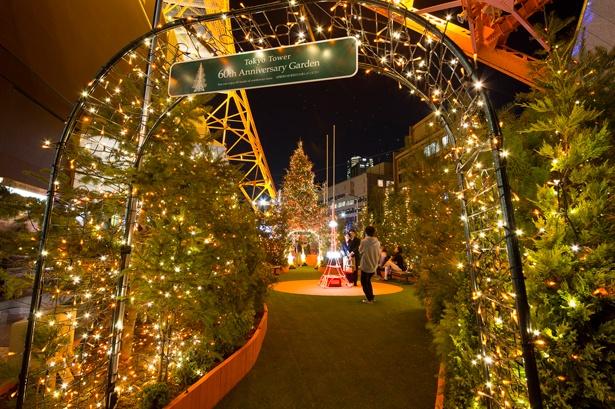 """「60(ロクゼロ)ガーデン」には、かわいらしい""""ミニ東京タワー""""のオブジェも/東京タワー"""