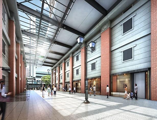 【写真を見る】生糸輸出拠点となった倉庫群の復元を実施。歴史広場になる