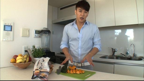著書で紹介しているスープにきな粉を加えてアレンジ!