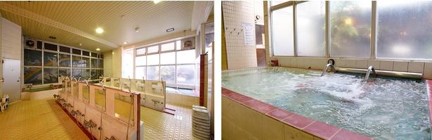 天井が高く開放感あふれる浴室。大きな窓から明るい陽の光が差し込む