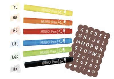 文字のステンシルシートにぬのペンが6種類もセットに!カラフルにアレンジしよう