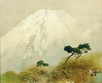 淡色の富士山が印象的な竹内栖鳳「富嶽」