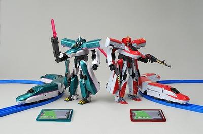 ロボット玩具「シンカリオン」は列車形態はプラレール上を走ることができる