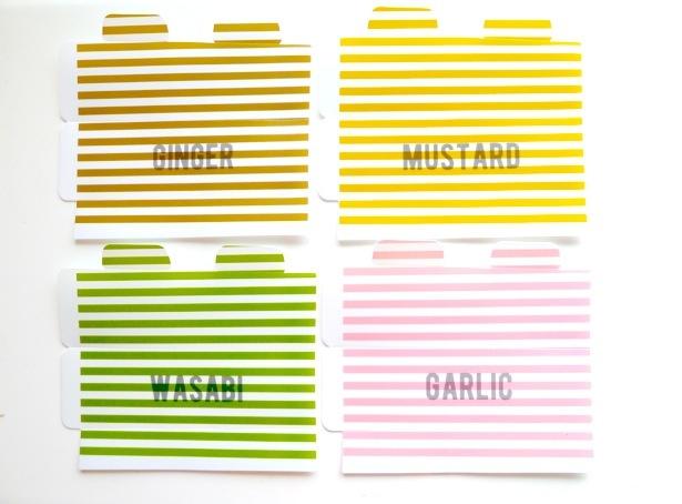 WASABI:グリーン、GARLIC:ピンク、GINGER:ベージュ、MUSTARD:イエローの全4種類