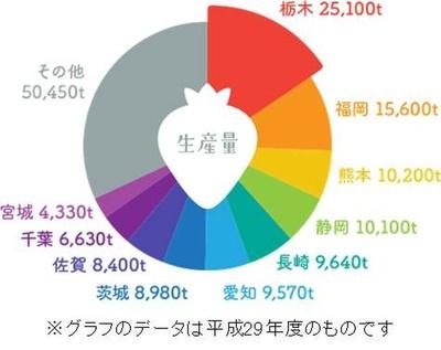 平成29年度のグラフデータ。栃木県は半世紀に渡り、イチゴ生産量日本一を誇っている
