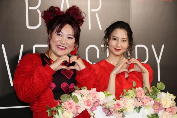 Netflixのバレンタインイベントに登壇した河北麻友子とバービー