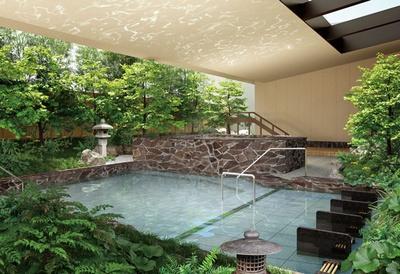 大阪の街なかとは思えない四季折々の自然を体全体でたっぷりと感じられる露天風呂/空庭温泉 OSAKA BAY TOWER