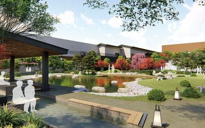 庭園中央にある大池をステージとしたアトラクションショーを、足湯につかりながら楽しめる天空庭園/空庭温泉 OSAKA BAY TOWER