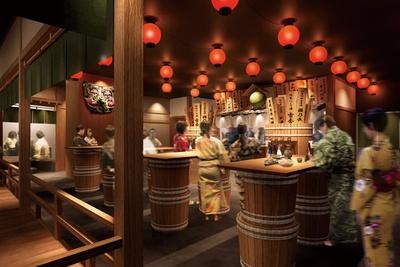 安土桃山時代の銘酒を復活させた再現酒や女性に人気のお酒など、さまざまな日本酒を味わえる。1日数回実施される日本酒ショーも必見/空庭温泉 OSAKA BAY TOWER