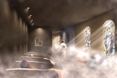 南蛮寺をテーマにした南蛮房は、ステンドグラスとミストによる西洋的デザインが特徴/空庭温泉 OSAKA BAY TOWER